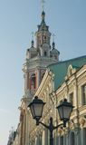 Ancient bell tower. Bell tower of Zaikonospassky monastery on St. Nicholas Street in Moscow Stock Photo