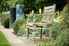 Ancient bench and copper features Royalty Free Stock Images