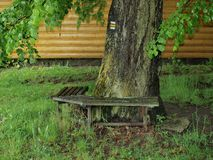 Ancient bench on the tourist trail, South Bohemia Royalty Free Stock Images