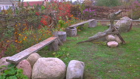Ancient Bench in the Yard stock video