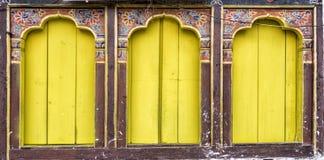 Ancient bhutanese window, Bhutan Royalty Free Stock Image