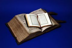 Ancient Bible and Koran. Ancient Holy Bible and Koran Royalty Free Stock Photos
