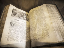 Ancient Bible in St Mary's Parish Church in Nether Alderley Cheshire. Stock Photo