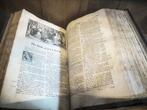 Ancient Bible in St Mary's Parish Church in Nether Alderley Cheshire. Stock Images