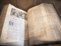 Ancient Bible in St Mary's Parish Church in Nether Alderley Cheshire. Royalty Free Stock Photos