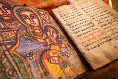 Free Ancient Bible Written On Animal Skin In Monolithic Church Abuna Yemata Guh In Tigray Region, Ethiopia Royalty Free Stock Image - 166544826