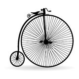 Ancient bicycle. Silhouette of an ancient bicycle on a white background stock illustration