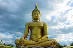 Ancient Big Buddha Image in the Field at Muang Temple , Ang Thon Royalty Free Stock Images