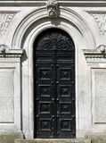 Ancient black door Royalty Free Stock Photo