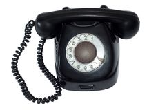 Ancient black retro phone Royalty Free Stock Photos