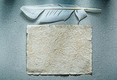 Ancient blank crumpled paper sheet feather on grey surface Royalty Free Stock Image