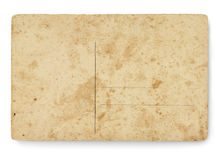 Ancient blank postcard. Back view postcard with ancient texture stock photography
