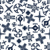 Ancient blue crosses seamless pattern Stock Image