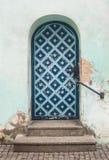 Old blue renaissance door stock photography