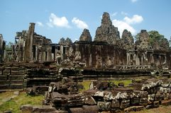 Ancient blue sky. Scenic ruble of bayon temple cambodia Stock Images