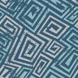 Ancient blue spiral seamless pattern with grunge effect Royalty Free Stock Images