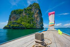 ANCIENT BOAT DURING SEA JOURNEY IN SUNNY DAY Royalty Free Stock Images