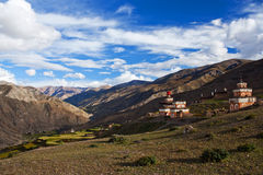 Ancient Bon stupa in Saldang village, Nepal Royalty Free Stock Photos