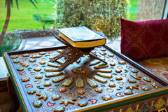 Ancient book. On the ancient carved table Royalty Free Stock Photos