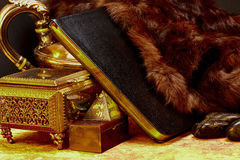 Ancient Book of Knowledge with Treasures Royalty Free Stock Photo