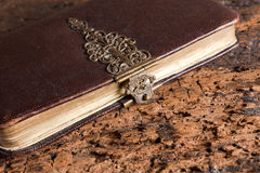 Ancient book with lock. Ancient leather and gold edged book with beautiful brass lock Stock Image
