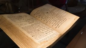 ancient book with old handwritten humanist text