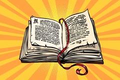 Ancient book, religion, fairy tale and literature. Comic book cartoon pop art retro vector illustration stock illustration