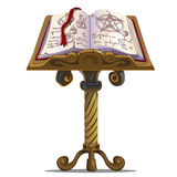 Ancient book of spells with symbols on stand Stock Images