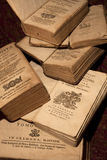 Ancient books of the 18th century. Some ancient books printed in Italy from 1700 to 1800 Stock Photo