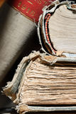 Ancient books - Macro. Ancient books in library room - Macro Stock Image