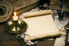 Ancient books on the old paper background Royalty Free Stock Images