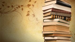Old books on dark  background. Ancient books paper art abstract brown dark Royalty Free Stock Image