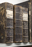Ancient books. Spine on a shelf Stock Photo