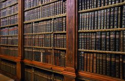 Ancient bookshelves. Bookshelves with ancient books - great knowledge, information picture Stock Image