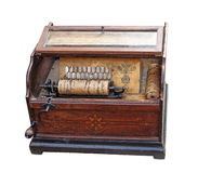 Ancient boombox. Antique drum music box isolated on white Royalty Free Stock Image