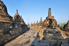 Ancient Borobudur Buddhist Temple, East Java, Indonesia. Buddha Statue and Stupas at Ancient Borobudur Buddhist Temple, Java Island, Indonesia stock images