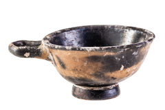 Ancient bowl over white Stock Photos