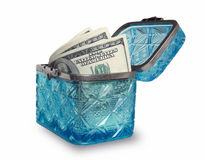 Ancient box with cash Royalty Free Stock Photos