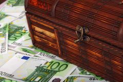 Ancient box on euro banknote. Close up Royalty Free Stock Photography