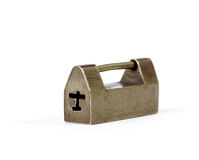 Ancient Brass lock. Isolated on a white background Stock Photo