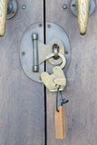 Ancient brass lock on wooden door Royalty Free Stock Photography