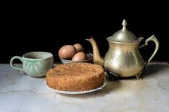 Ancient brass tea pot Stock Image