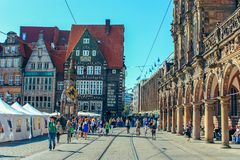 Ancient Bremen Market Square with statue of the Bremen Roland stock images