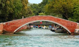 Ancient brick bridge in Venice Royalty Free Stock Images