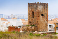 Ancient brick fortress tower in Tangier, Morocco Royalty Free Stock Photos