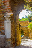 Ancient brick passageway door in the famous La Alcazaba in Malag Royalty Free Stock Images