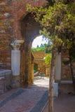 Ancient brick passageway door in the famous La Alcazaba in Malag Royalty Free Stock Image