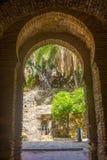 Ancient brick passageway door in the famous La Alcazaba in Malag Royalty Free Stock Photography