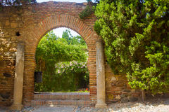 Ancient brick passageway door in the famous La Alcazaba in Malag Royalty Free Stock Photo