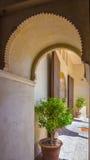 Ancient brick passageway door in the famous La Alcazaba in Malag Stock Photo